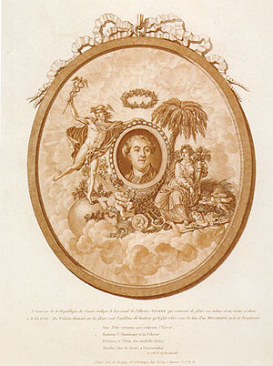 Jacques Necker - Allegorical Portrait of Necker flanked by Commerce and Prosperity (1788–1789)