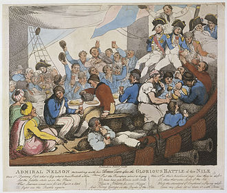 HMS Vanguard (1787) - Caricature of Nelson and his men aboard Vanguard after the Battle of the Nile. This caricature reflects the national sentiment toward Nelson and his behaviour and treatment of his men. Courtesy of the National Maritime Museum, Greenwich, London.
