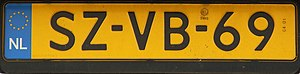 Vehicle registration plates of the Netherlands - Dutch vehicle registration plate
