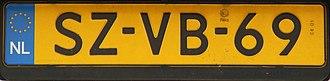 Vehicle registration plates of the Netherlands - Dutch vehicle registration plate