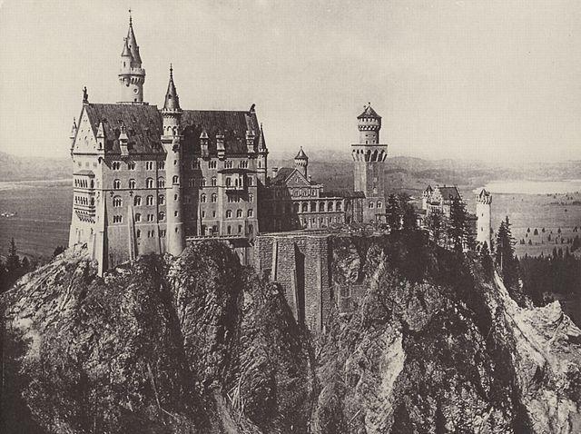Замок Нойшванштайн.Фотография Йозефа Альберта (1886 или 1887)
