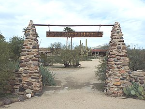 New River, Arizona - The entrance of the historic Wranglers Roost Stagecoach Stop .