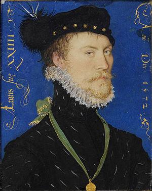 Portrait miniature - Miniature portrait of an unidentified man, by Nicholas Hilliard, 1572.