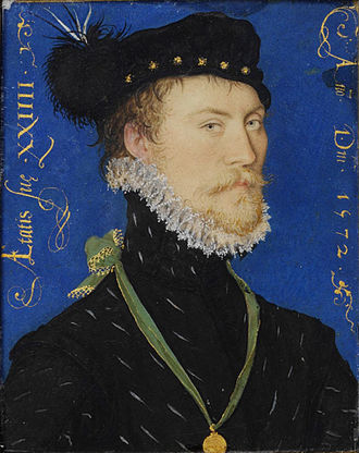 Portrait miniature - Miniature portrait of an unidentified man, by Nicholas Hilliard, 1572.