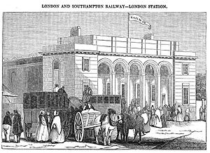 Nine Elms railway station - An 1838 view of Nine Elms railway station in London, from a contemporary engraving