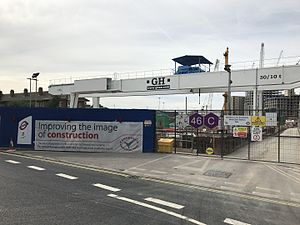 Nine Elms tube station - Construction site of the new station.