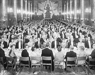 Nobel Banquet - 1958 Nobel Banquet in Stockholm City Hall's Golden Hall