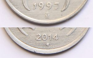 India Government Mint, Noida - Noida Mint marks on rupee coins.