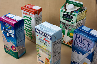 Milk substitute - A range of packaged plant milks from a Western grocery store.