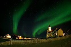 Northern Lights over Hillesøy Church