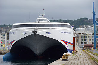 Cherbourg-Octeville - The ''Normandie Express'' catamaran ferry at Cherbourg