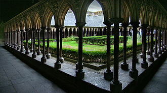 Medieval architecture - Cloisters of Mont Saint-Michel, Normandy, France.