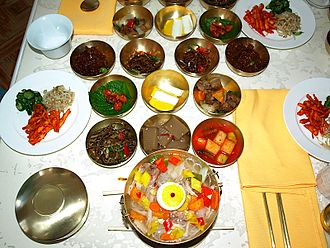 Kaesong - A meal for visitors at Tongil restaurant, Kaesong