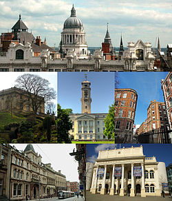 From top left: Skyline of the Old Market Square area, including the dome of the Council House; Nottingham Castle; the University of Nottingham; Street scene in the Lace Market; Nottingham Express Transit tram in Victoria Street; the Theatre Royal