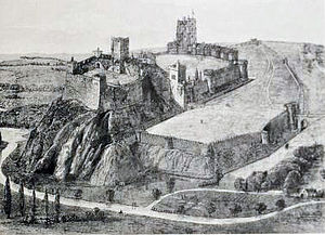 Nottingham Castle - Victorian reconstruction of the likely appearance of the castle in the late medieval period
