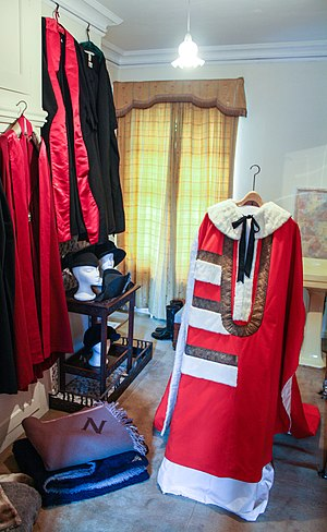 Robes of the British peerage - Parliament robe of a viscount, with 2½ bars (Robes of Viscount Nuffield, Nuffield Place, Oxfordshire)