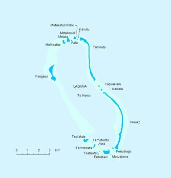 Map indicating islands of Nukulaelae atoll, Tuvalu