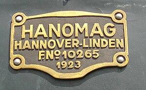 VR Class Vr1 - Image: Nummernschild Hanomag 10265