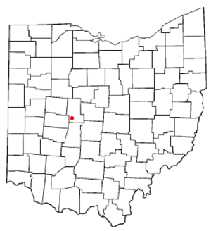 Milford Center, Ohio - Image: OH Map doton Milford Center