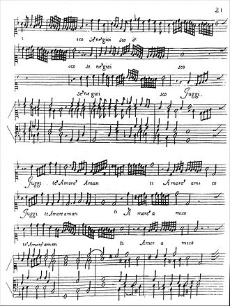 Concerto delle donne - Second page of O dolcezz'amarissime d'amore, showing series of runs among three soprano lines with accompaniment. The music is notated on three soprano clefs (as opposed to treble clefs) and features a preponderance of thirty-second notes.