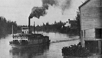 Albany, Oregon - Sidewheel steamboat Occident, at Albany, near Red Crown Mills