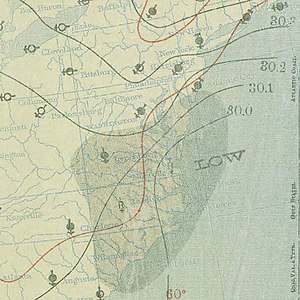 1896 East Coast hurricane - Image: October 11, 1896 hurricane 5 weather map