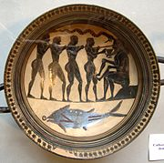 Odysseus and his companions blind Polyphemus. Laconian black-figure cup, 565–560 BC.