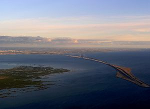 Tårnby Municipality - Oresund Bridge from Denmark to Sweden. On the right the artificial Peberholm and on the left Saltholm. This picture is taken from the air.