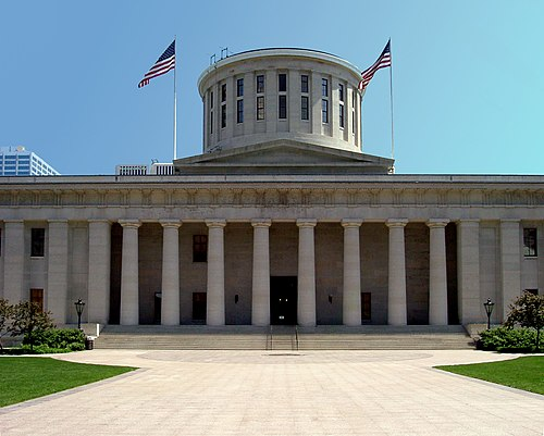 The Ohio State Capitol located in Columbus, Ohio. Ohio Statehouse columbus.jpg