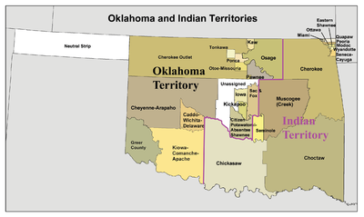 Oklahoma and Indian Territory map, circa 1890s, created using Census Bureau Data