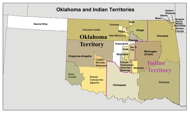 A map of the Oklahoma Territory and the reduced Indian Territory circa 1890's. Source: Wikipedia