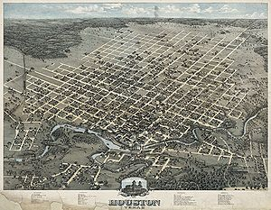 Houston, Texas in 1873. Bird's Eye View Of the...