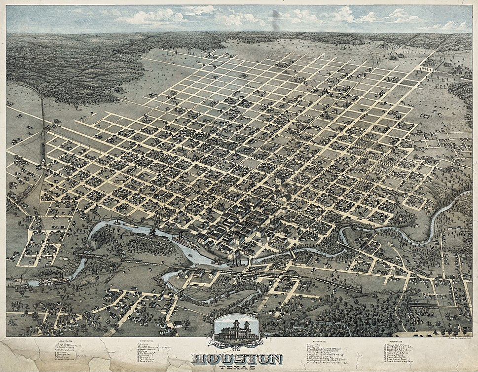Old map Houston 1873 Houston Howling Pixel