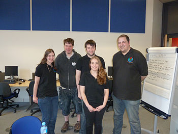 Five Wikimedia UK trainers at a training event in Oldham