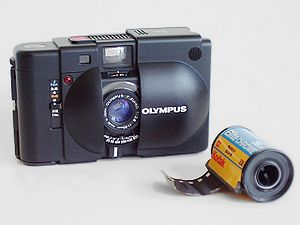 Olympus XA camera and film