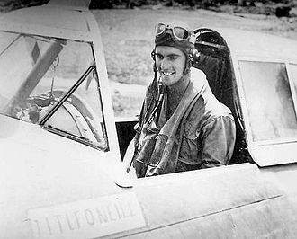 "108th Operations Group - First Lieutenant Lawrence F. O'Neill of the 342nd Fighter Squadron, in the cockpit of his Republic P-47D Thunderbolt, AAF Serial No. 42-22903, which he christened ""Kathy/Veni Vidi Vici,"" following his quadruple victory on 26 December 1943. O'Neill survived the war and reached Ace status with a total of 5 aerial victories."