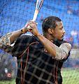 Orioles outfielder Adam Jones takes batting practice before the AL Wild Card Game. (30056421512).jpg