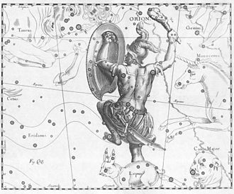 Orion (mythology) - Johannes Hevelius drew the Orion constellation in Uranographia, his celestial catalogue in 1690