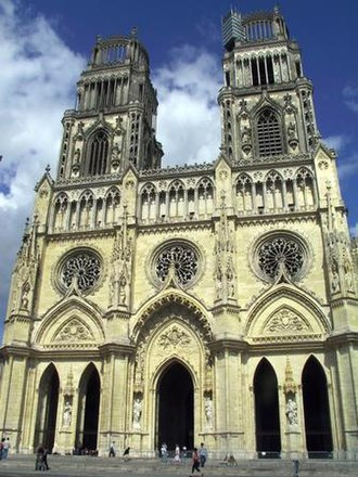 Roman Catholic Diocese of Orléans - Orléans Cathedral, dedicated to the Holy Cross, built from 1278 to 1329; after being pillaged by Huguenots in the 1560s, the Bourbon kings restored it in the 17th century.