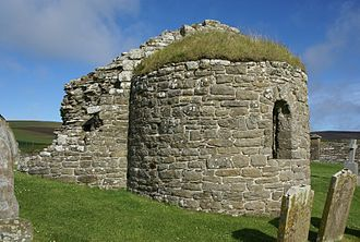 Orphir Round Church - The Round Kirk, showing the outside of the apse