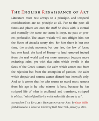 typesetting  wikipedia text sample an extract of the essay the renaissance of english art by  oscar wilde typeset in iowan old style roman italics and small caps