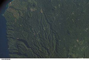 Guadalupe, São Tomé and Príncipe - Satellite image of Guadalupe and west Lobata District the town is on the top of the photo