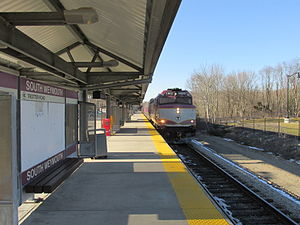 Old Colony Lines (MBTA) - A train at South Weymouth station on the Plymouth/Kingston Line in 2013