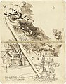 Outskirts of Singapore, Friday February 13, 1942. Dump Burning under Jap Shellfire. Drawn during Shelling. verso- Design, 'ballet Russe' and Three Sketches of Japanese Soldiers Art.IWMART15746I.jpg