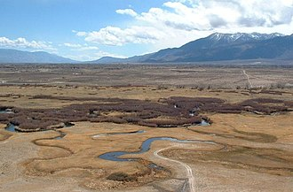 Owens Valley - Owens River from Bishop Tuff tableland.