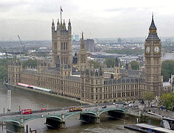 The Palace of Westminster, on the banks of the River Thames