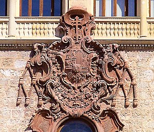 Archbishop's Palace of Alcalá de Henares - Arms of the Infante Luis Antonio, as Cardinal of Toledo in the main facade of the Archbishop's Palace of Alcalá de Henares.