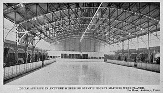 Ice hockey at the 1920 Summer Olympics - Palais de Glace d'Anvers ice rink where the ice hockey tournament was held.