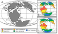 Paleogeography and paleoclimate of the Late Jurassic - 150 Ma with dinosaur fossil localities.png