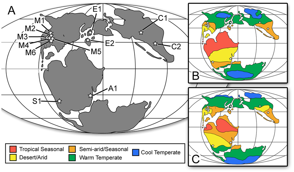 Paleogeography and paleoclimate of the Late Jurassic - 150 Ma with dinosaur fossil localities